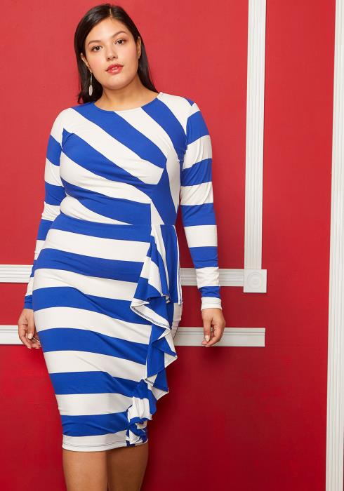 Asoph Plus Size Stripe Print Ruffle Trim Dress