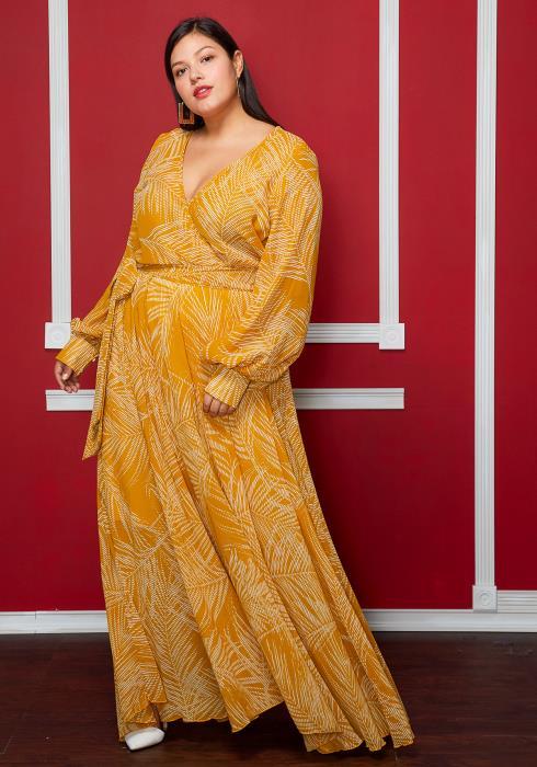 Asoph Plus Size Leaf Print V-Neck Side Tie Dress