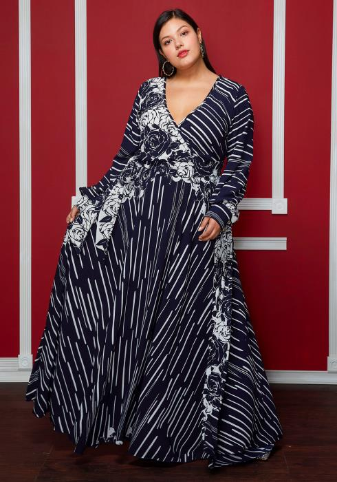 Asoph Plus Size Dark Floral Print V Neck Puff Sleeve Dress