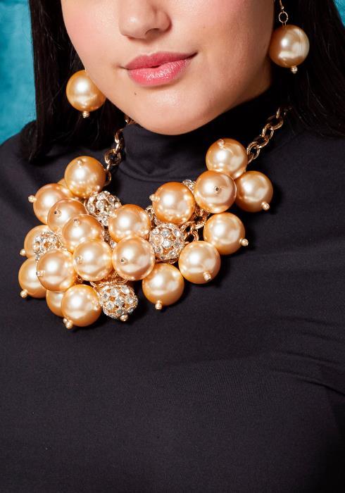 Sharona Big Pearl & Pave Ball Necklace