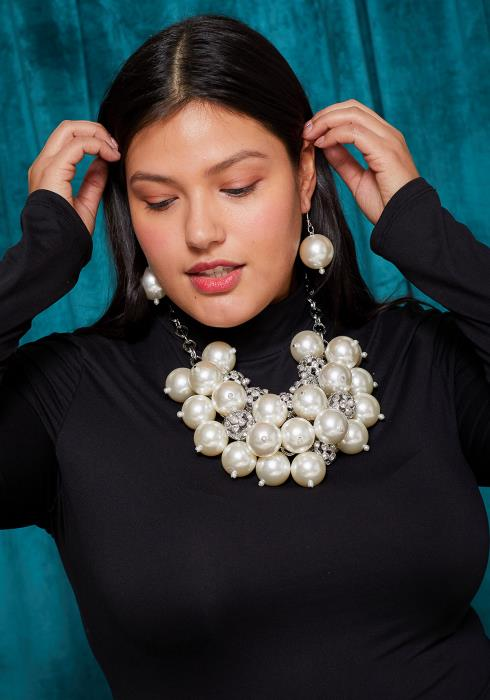 Sharona Big Pearl & Pave Ball Necklace