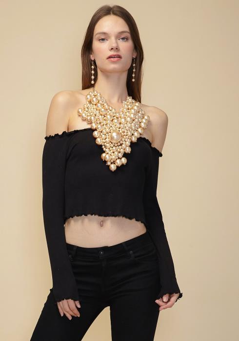 Sharona Fancy Pearl Bib Necklace