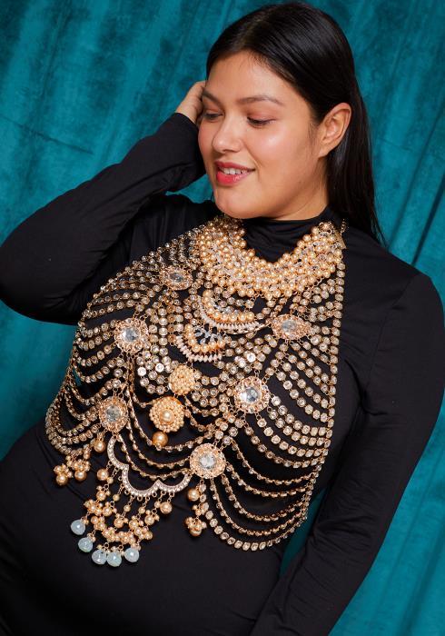 Sharona Pearl & Rhinestone Embellished Body Necklace