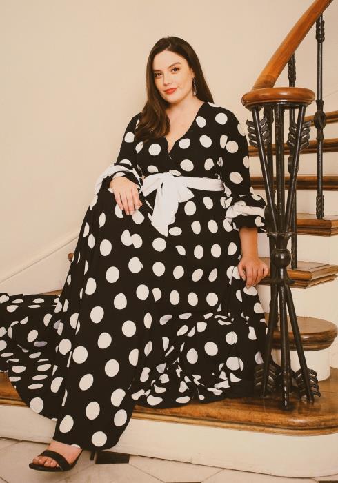 Asoph Plus Size Polka Dot Tie Waist Maxi Dress