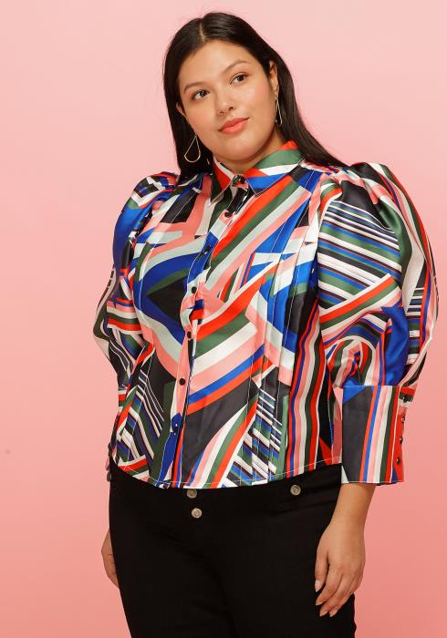 Asoph Plus Size Abstract Print Puff Shoulder Button Down Blouse
