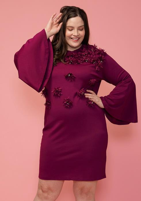 Asoph Plus Size Floral Accented Dress