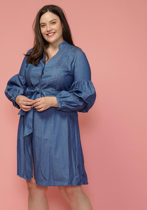 Asoph Plus Size Denim Tie Front Shirt Dress