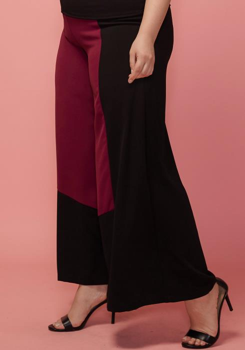 Asoph Plus Size Color Block Wide Pants