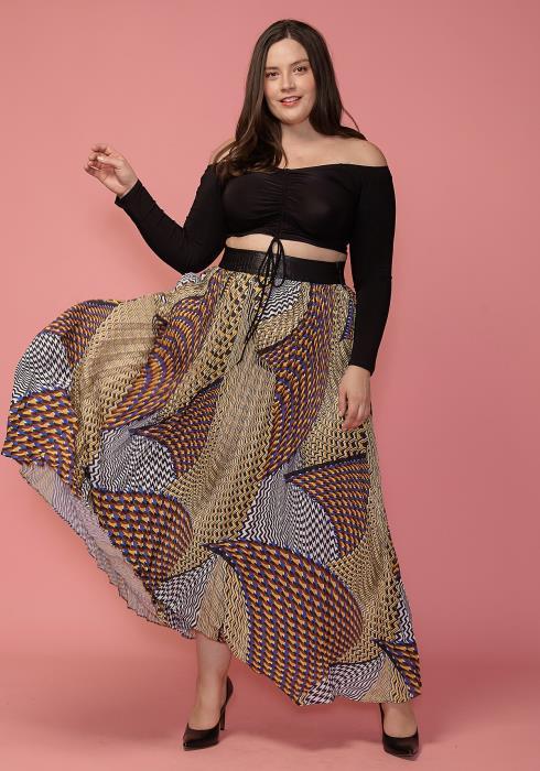 Asoph Plus Size Ethnic Print Chiffon Pleated Maxi Skirt
