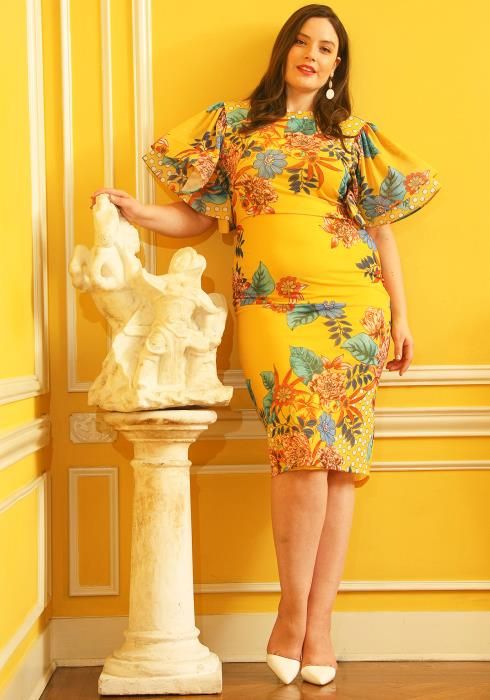 Asoph Plus Size Floral Print Bell Sleeve Bodycon Party Dress