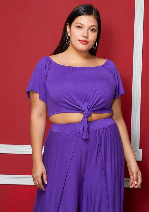 Asoph Plus Size Short Sleeve Tie Crop Top