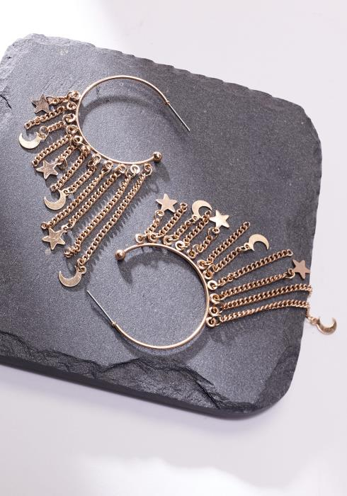 Moon & Star Drop Hoop Earring