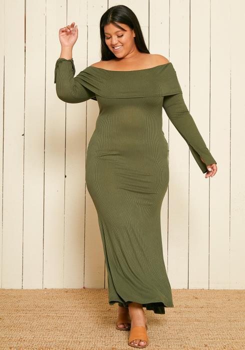Asoph Plus Size Ribbed Knit Maxi Slit Dress