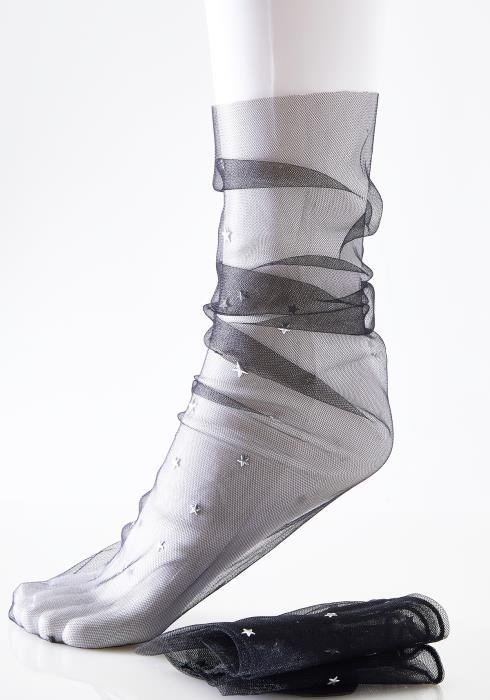 Sheer Mesh Star Studded Ankle Socks