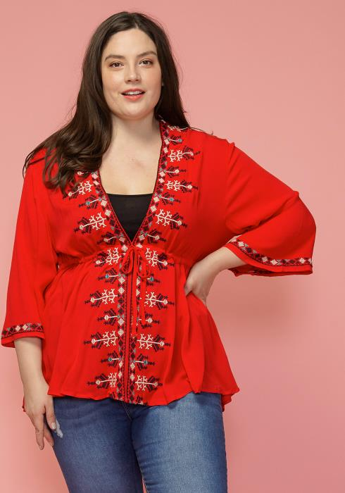 Asoph Plus Size Ethnic Tie Front Tunic Top