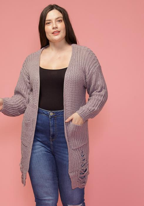 Asoph Plus Size Ripped Knit Cardigan