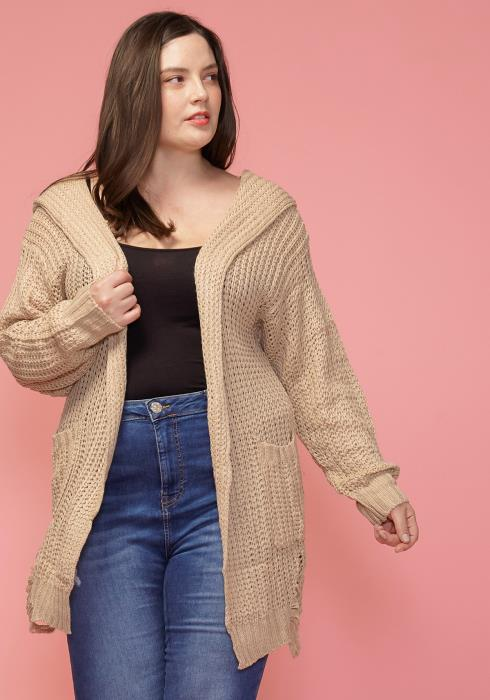 Asoph Plus Size Hooded Open Front Cardigan