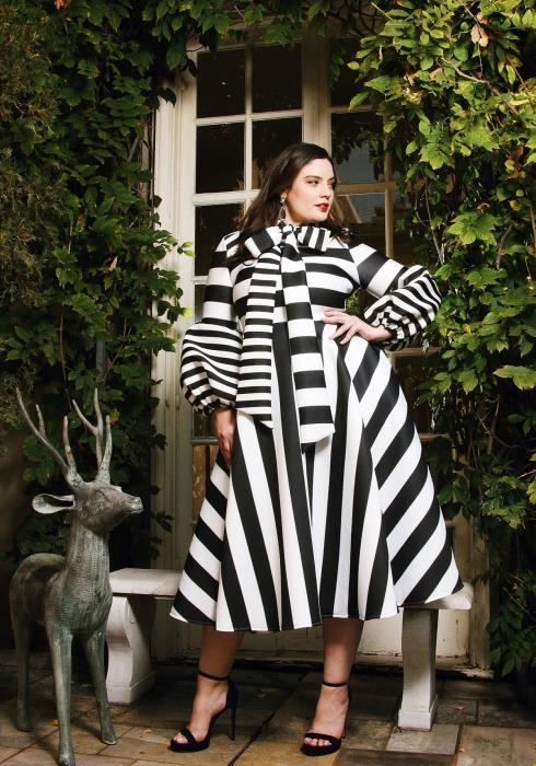 Asoph Plus Size Bold Stripe Puff Sleeve Flared Dress