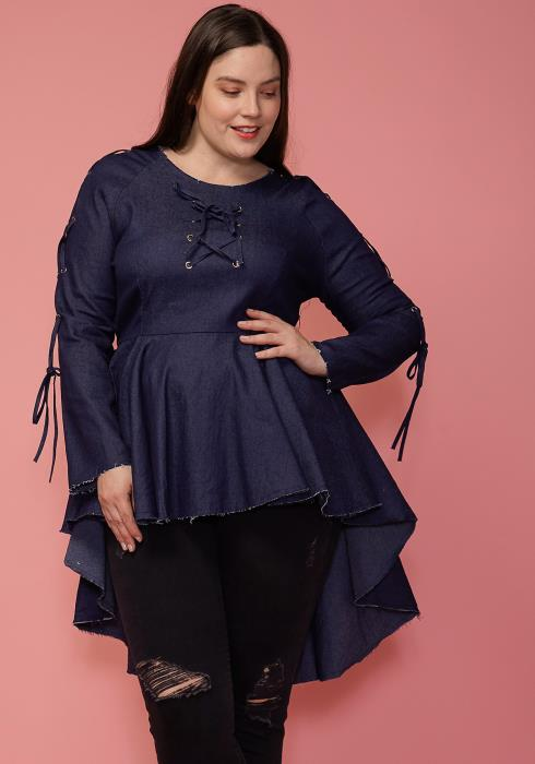 Asoph Plus Size Lace Tie Front Hi-Lo Denim Top
