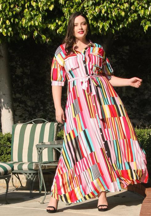 Asoph Plus Size Multi Color Stripe Button Front Maxi Dress