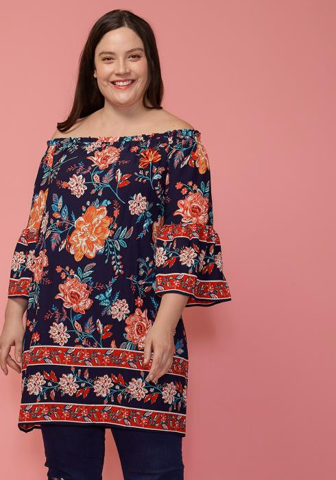 Asoph Plus Size Off Shoulder Tunic Top