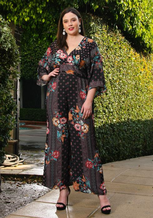 Asoph Plus Size Floral V-Neck Wide Sleeve Jumpsuit