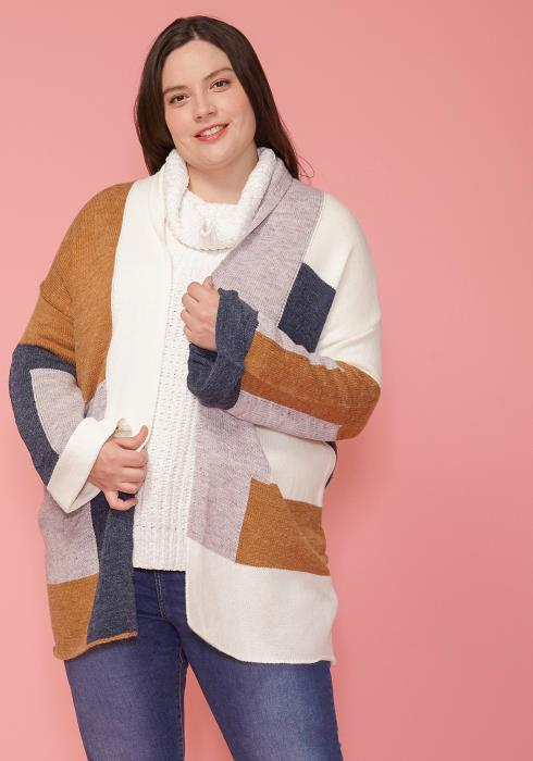 Asoph Plus Size Soft Color Block Print Cardigan