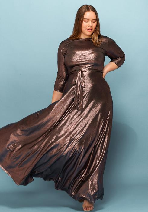 Asoph Plus Size Metallic Tie Front Maxi Party Dress