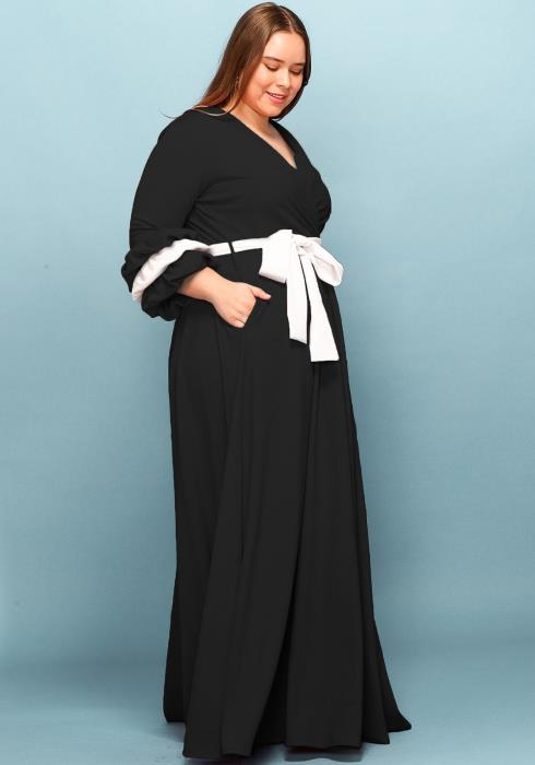 Asoph Plus Size Tie Ribbon Point Maxi Dress