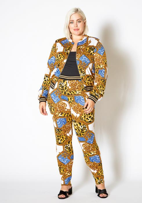 Asoph Plus Size Multi Leopard Print Zip Up Jacket & Pants Set