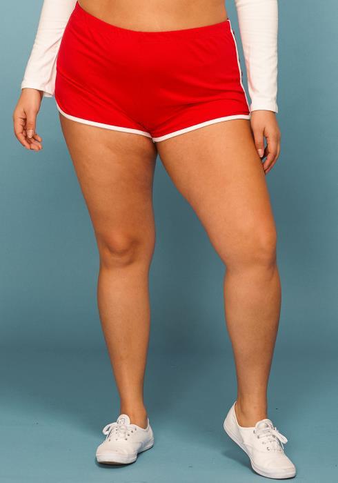 Asoph Plus Size Elastic Waist Round Hem Sports Shorts