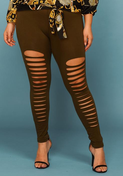 Asoph Plus Size Ripped Front Leggings
