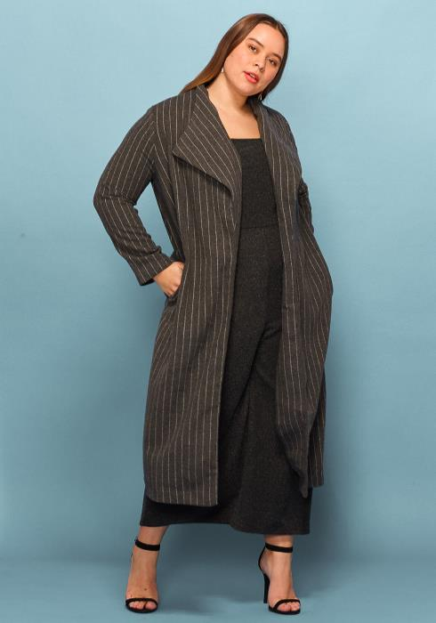 Asoph Plus Size Stripe Thick Long Coat