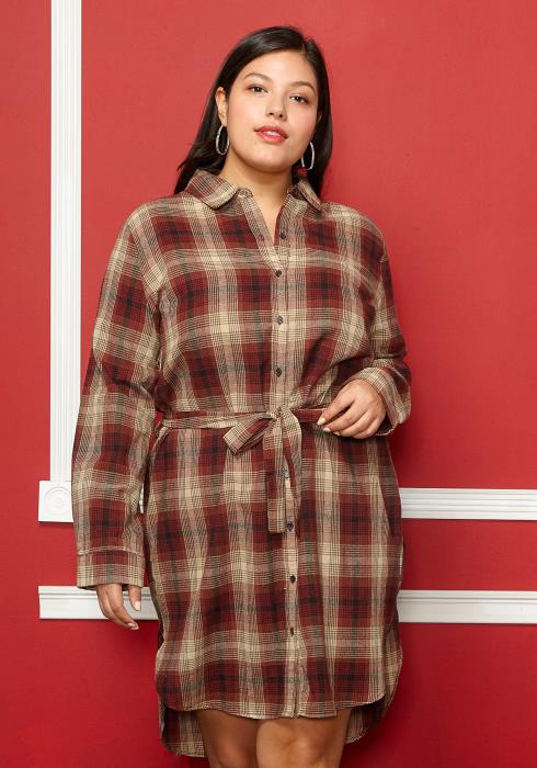 Asoph Plus Size Plaid Button Up Tie Waist Dress