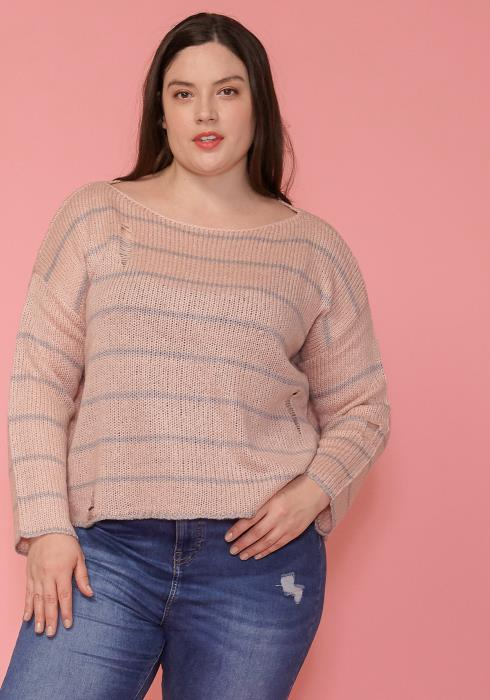 Asoph Plus Size Drop Shoulder Stripe Cropped Sweater