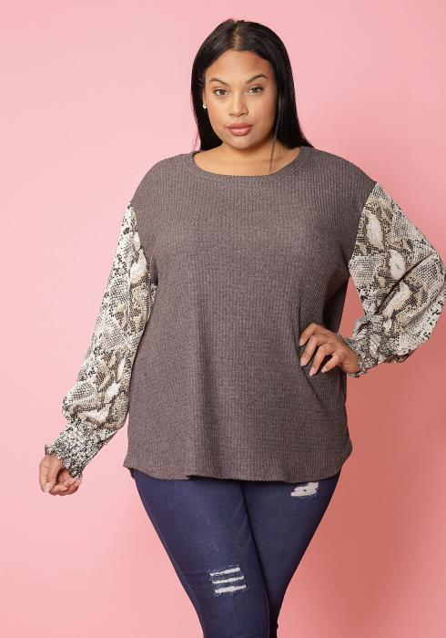 Asoph Plus Size Snake Print Contrast Round Neck Top