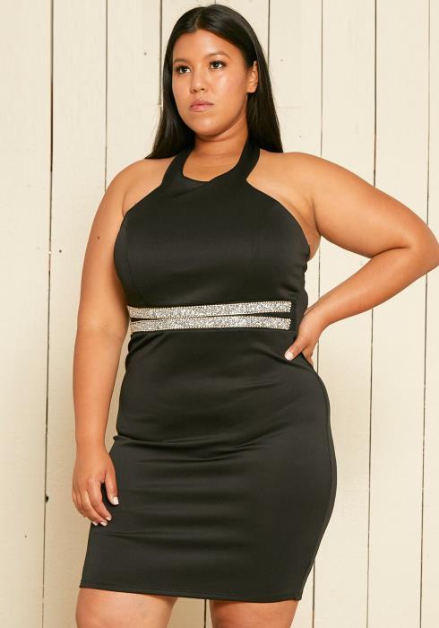 Asoph Plus Size Jeweled Halter Neck Party Dress