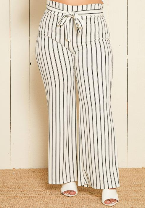 Asoph Plus Size Stripe Flared Pants