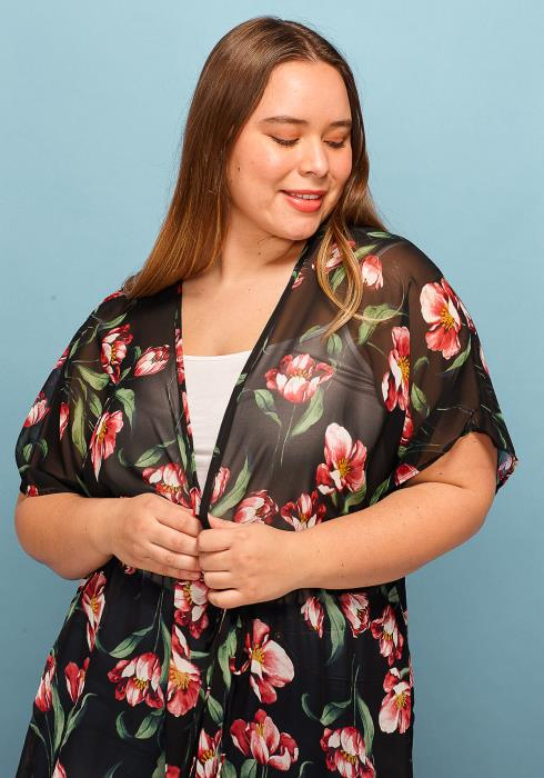 Asoph Plus Size Sheer Floral Kimono Cardigan