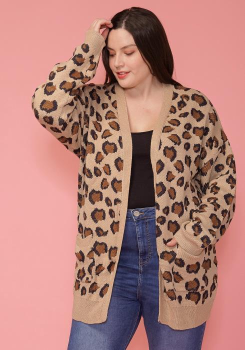 Asoph Plus Size Leopard Print Thick Cardigan