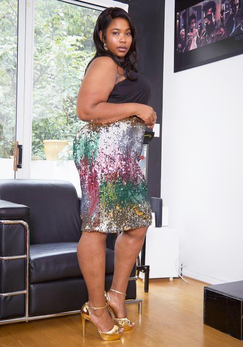Asoph Plus Size Ombre Sequin Mini Pencil Skirt