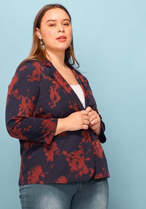 Asoph Plus Size Floral Print Blazer