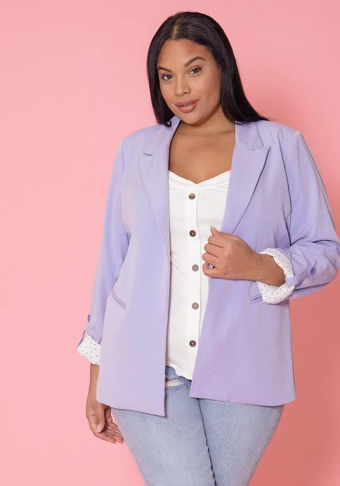 Asoph Plus Size Lavender Open Front Blazer