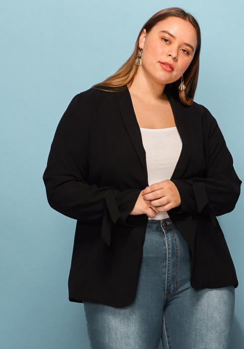 Asoph Plus Size Tie Sleeve Blazer