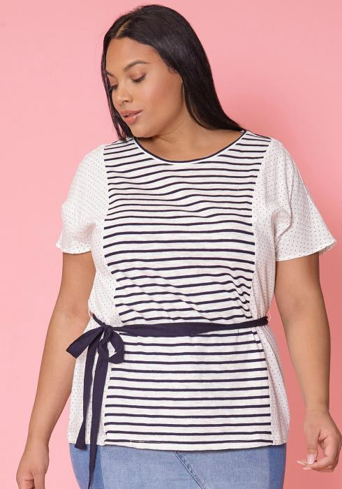 Asoph Plus Size Stripe Tie Waist Short Sleeve Tee