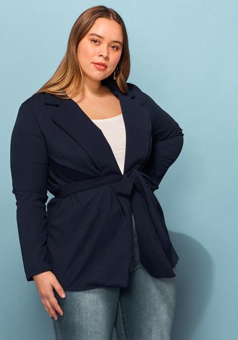 Asoph Plus Size Tie Waist Blazer