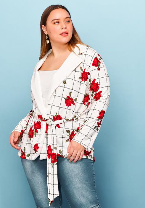 Asoph Plus Size Floral Mix Print Tie Blazer