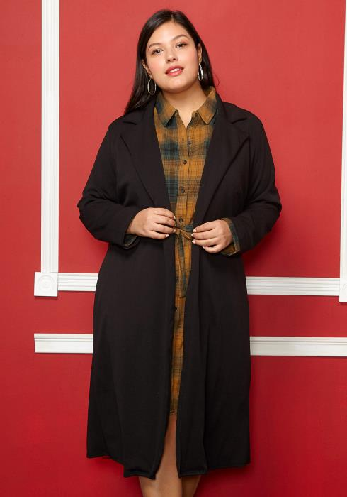 Asoph Plus Size Long Sleeve Open Front Cardigan