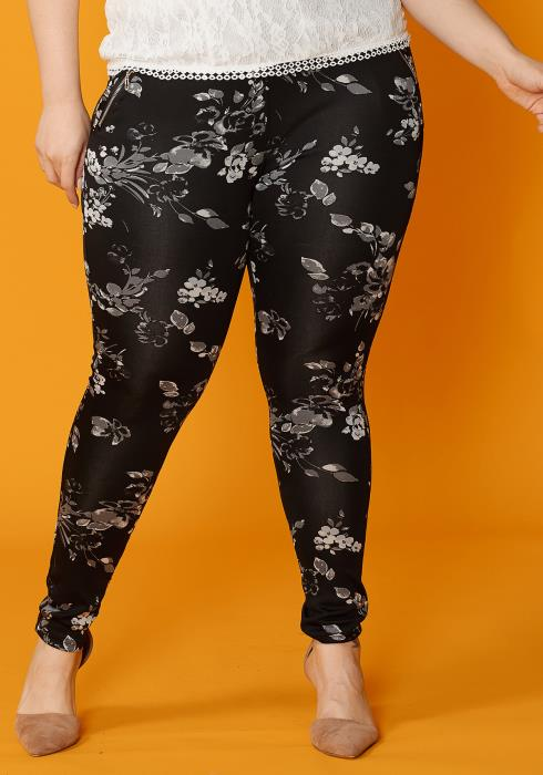 Asoph Plus Size Flower Print Zipper Pocket Leggings Pants