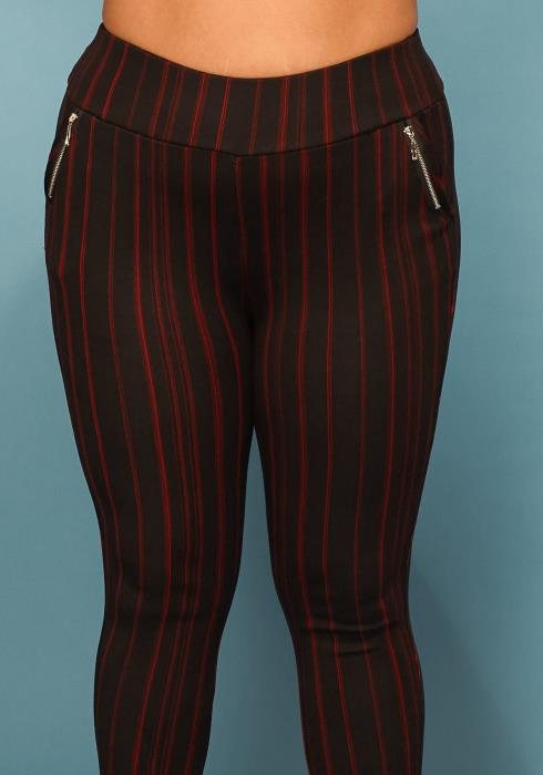 Asoph Plus Size Stripe Side Zipper Pocket Long Pants